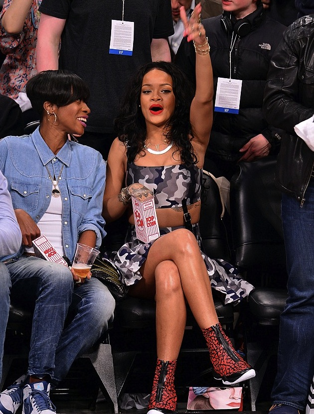 1-Rihannas-Brooklyn-Nets-Game-Christopher-Kane-Gray-Camouflage-Print-Dress-and-Air-Jordan-XX8-Quickstrike-Red-and-Black-Sneakers-