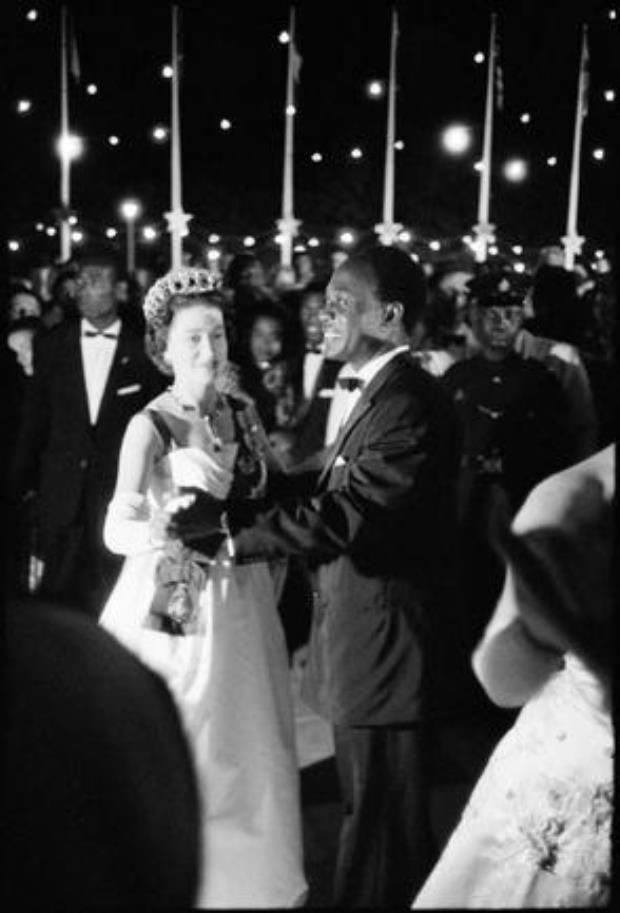 GHANA. Queen Elizabeth II on a state visit to Ghana. Dancing with Ghanaian President Kwame Nkrumah. 1961.