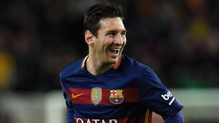 Barcelona's Argentinian forward Lionel Messi smiles after scoring a goal during the Spanish league football match FC Barcelona vs RC Celta de Vigo at the Camp Nou stadium in Barcelona on February 14, 2016. / AFP / LLUIS GENE (Photo credit should read LLUIS GENE/AFP/Getty Images)