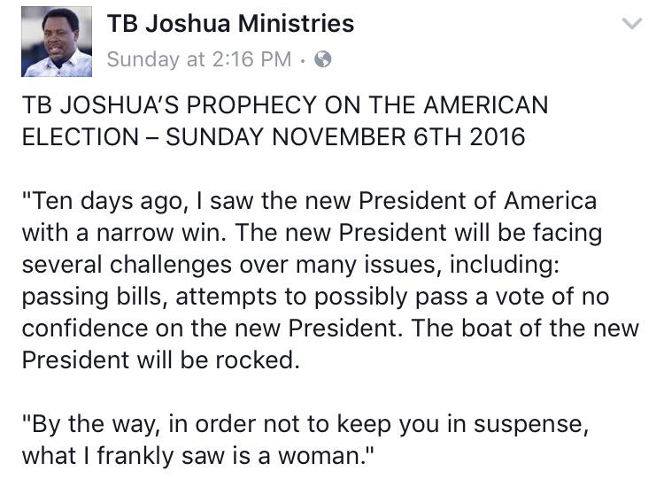 Well, That Didn't Go As Planned! T B  Joshua's Hillary Clinton