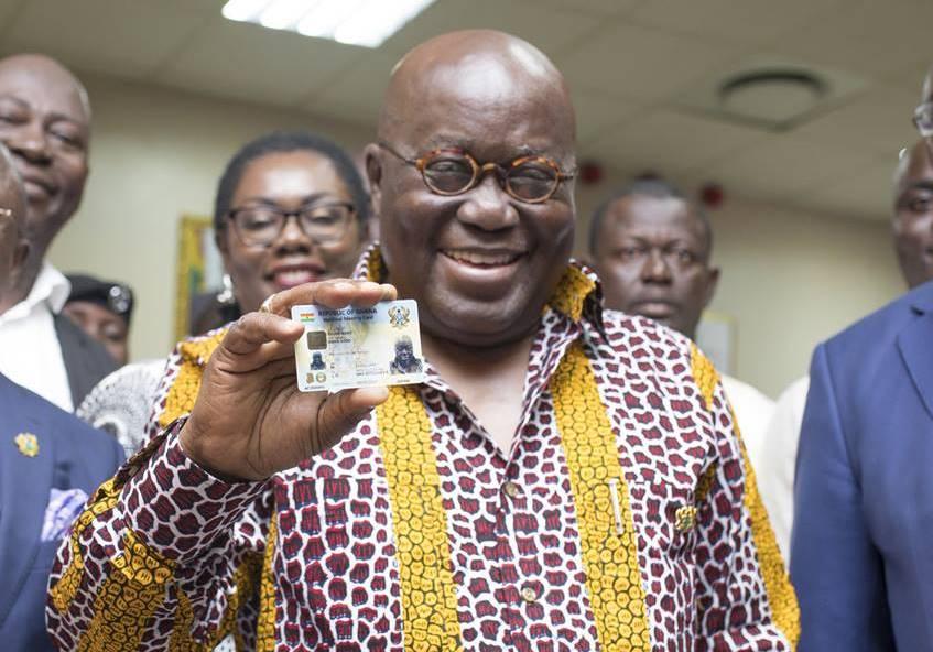 Nana Addo with Ghana Card