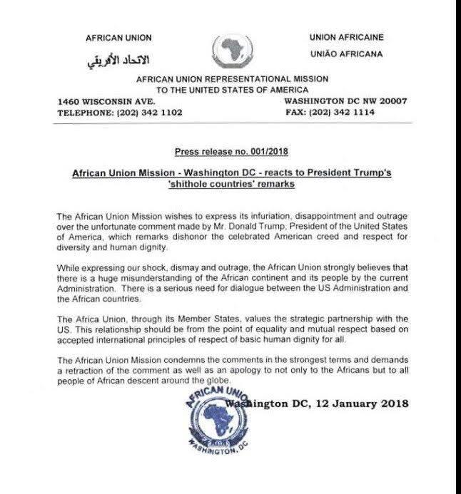 African Union, Trump Shithole