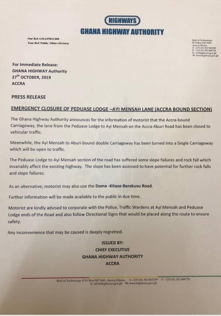 The Ghana Highway statement