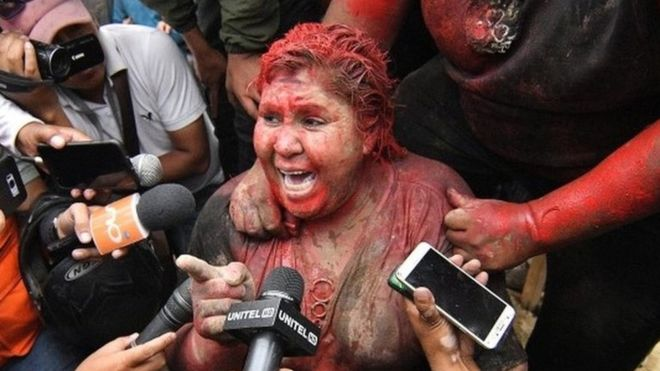 Patricia Arce was covered in red paint and had her hair cut off
