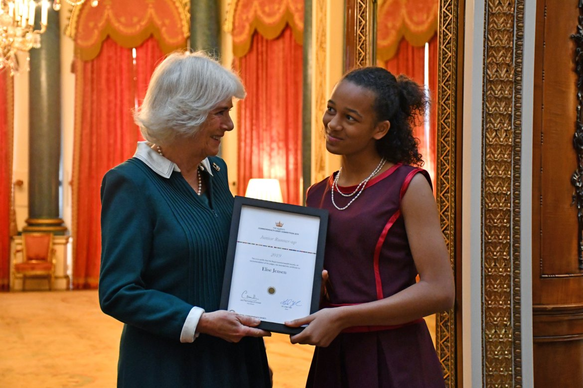 Camilla presents award to Elise at The Queen's Commonwealth essay competition (Clarence House