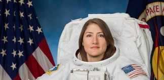 Photo Date: 11-7-2018.Location: Bldg 8 Photo Studio.Subject: Astronaut Christina Koch Official EMU Portrait.Photographer: Bill Stafford