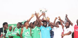 Players and Coaching staff of Ketabusco lift the 2019 Spriteball trophy (Spritrball/Twitter)
