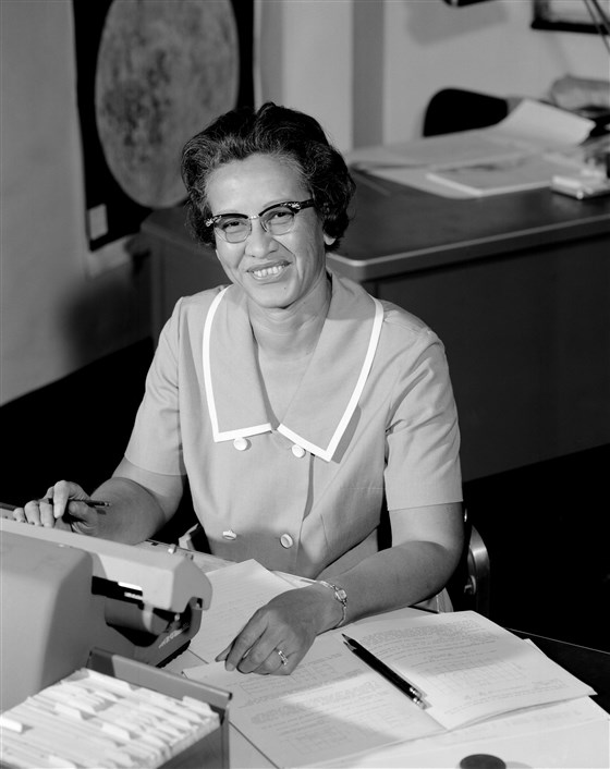 NASA space scientist and mathematician Katherine Johnson at Langley Research Center in Va., in 1966. (NASA / Getty Images file)