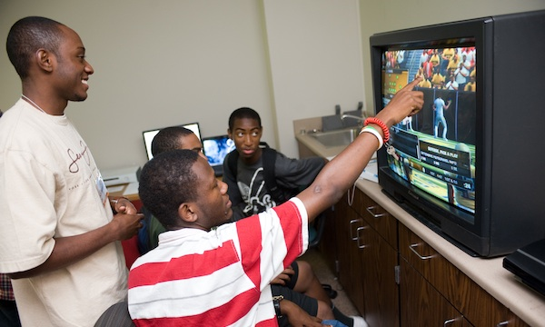 a group of boys playing game